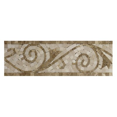 Emperador Light 4 x 12 Marble Botticino Art Border Tile in Beige
