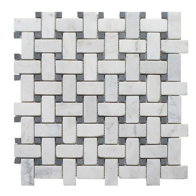 Milas Marble Mosaic Tile in Black/Gray