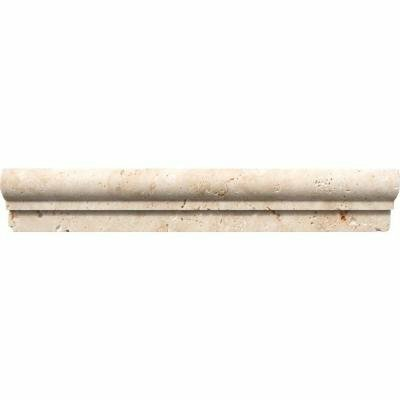 Light Travertine 12 x 2 Marble Bullnose Tile Trim in Beige