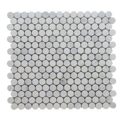 Arabescato Penny Round Polished 12 x 12 Marble Mosaic Tile in Gray