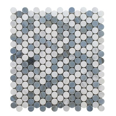Arabescato Mixed Penny Round Stone Polished 12 x 12 Glass Mosaic Tile in Blue