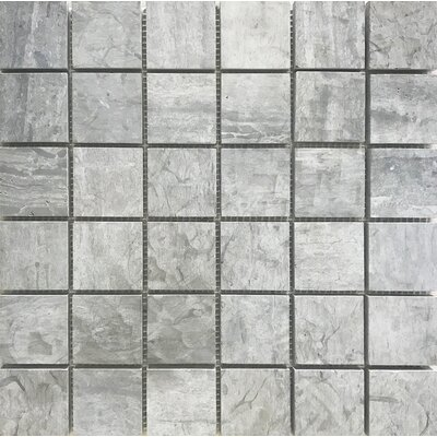 Wood Honed Square 12 x 12 Natural Stone Mosaic Tile in Gray