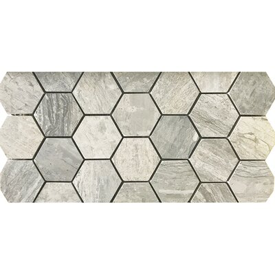 Wood Honed Hexagon 12 x 12 Natural Stone Mosaic Tile in White