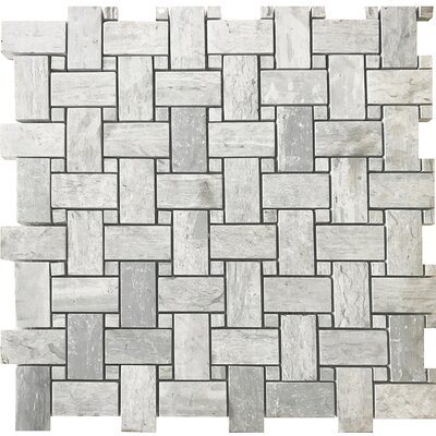 Wood Honed Basket Weave 12 x 12 Natural Stone Mosaic Tile in Beige