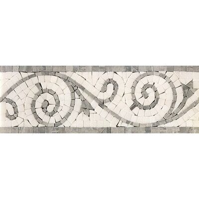 12 x 4 Art Border Honed Tile in White/Gray