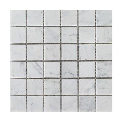 Bianco Carrara Square Honed 12 x 12 Natural Stone Mosaic Tile in Beige