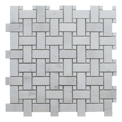 Dolomite Dot Basket Weave Polished 12 x 12 Natural Stone Mosaic Tile in Gray