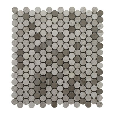 Oyster Mixed with Athens Penny Round Polished 12 x 12 Glass Mosaic Tile in Gray