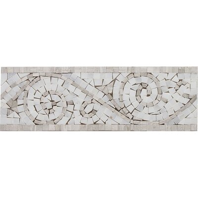 12 x 4 Arabescato Marble Art Border Bullnose Tile Trim in Oyster Gray
