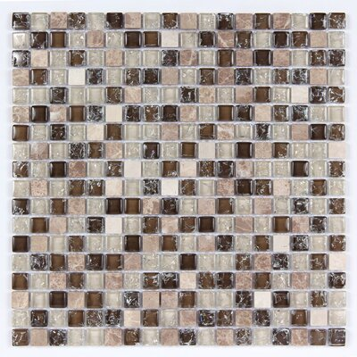 Square Clear and Crackled 12 x 12 Glass and Stone Blend Mosaic Tile in Brown