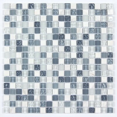 Random Strip Square Clear and Frosted and Textured 12 x 12 Glass and Stone Blend Mosaic Tile in Blue