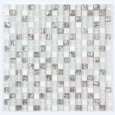 Square Clear and Frosted and Rippled 12 x 12 Glass and Stone Blend Mosaic Tile in White