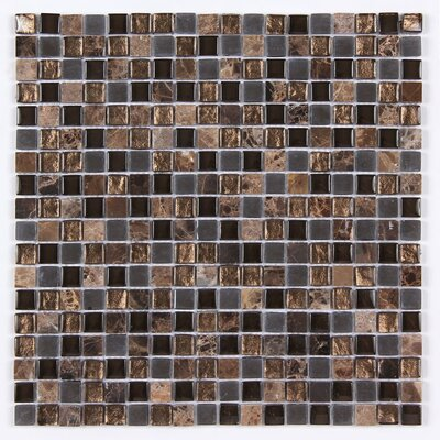Square Clear and Frosted 12 x 12 Glass and Stone Blend Mosaic Tile in Brown