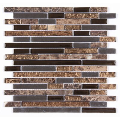 Random Strip Clear and Frosted and Rippled 12 x 12 Glass and Stone Blend Mosaic Tile in Brown