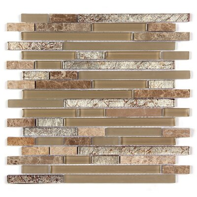 Random Strip Clear and Frosted and Rippled 12 x 12 Glass and Stone Blend Mosaic Tile in Beige