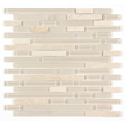 Random Strip Mosaic Clear and Frosted 12 x 12 Glass and Stone Blend Mosaic Tile in Beige