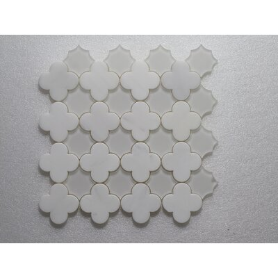Wall Clear and Polished 12 x 12 Arabescato and Glass Mosaic Tile in White