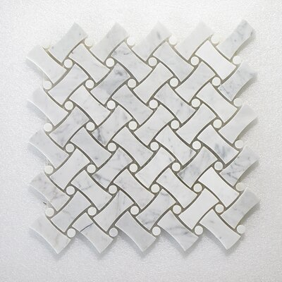 NovaWeave Carrara and Dot Wall Polished 12 x 12 Natural Stone Mosaic Tile in White