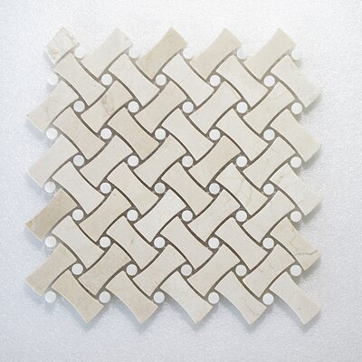 NovaWeave C.Marfil and Dot Wall Polished 12 x 12 Natural Stone Mosaic Tile in White