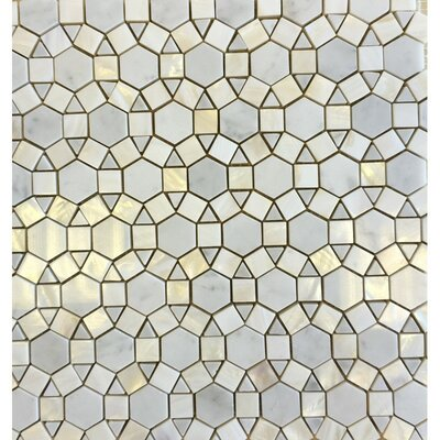 Sea Shell Pearl Wall Polished 12 x 12 Natural Stone Mosaic Tile in Yellow/White