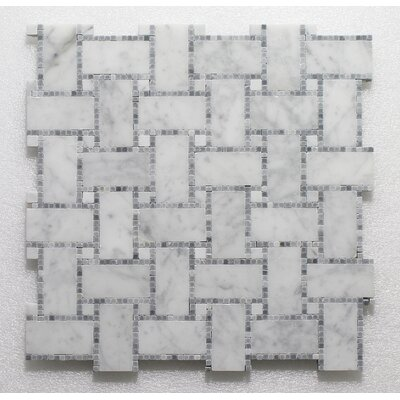 B.View Micro Carrara P. Wall 12 x 12 Natural Stone Mosaic Tile in White/Blue