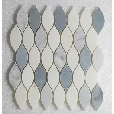 Elongated Tear Drop-Pure Carrara Wall 12 x 10.8 Natural Stone Mosaic Tile in White/Blue