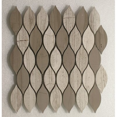 Elongated Tear Drop Wall 12 x 10.8 Natural Stone Mosaic Tile in Athens Gray/Oyster Gray