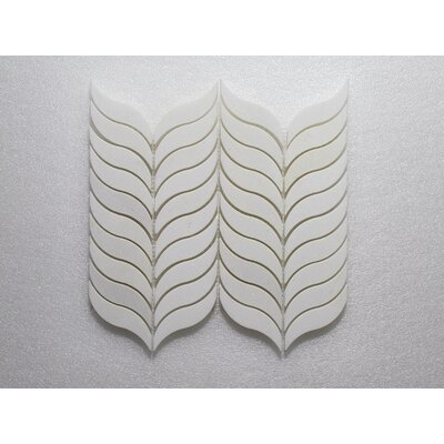Thassos Feather P. Wall 10.5 x 12 Natural Stone Mosaic Tile in White
