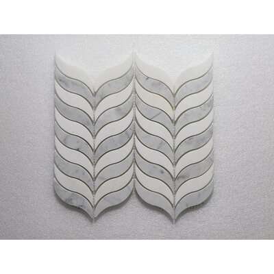 Thassos Feather P. and Carrara P. Wall 10.5 x 12 Natural Stone Mosaic Tile in White