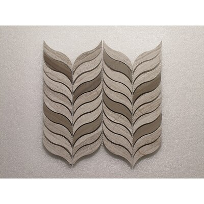 Feather III Wall 10.5 x 12 Natural Stone Mosaic Tile in Oyster Gray/Athens Gray