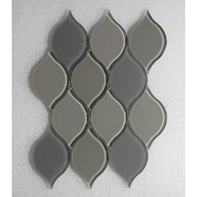 Tear Drop Latte Clear Frosted Wall 12 x 10.75 Glass Mosaic Tile in Gray