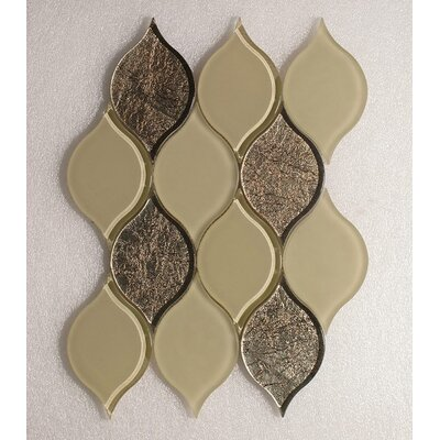 Tear Drop Mocha Frosted Wall 12 x 10.75 Glass Mosaic Tile in Gold Clear
