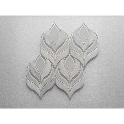 Botanica Arabescato P. Wall 10.25 x 9.75 Glass Mosaic Tile in White Clear