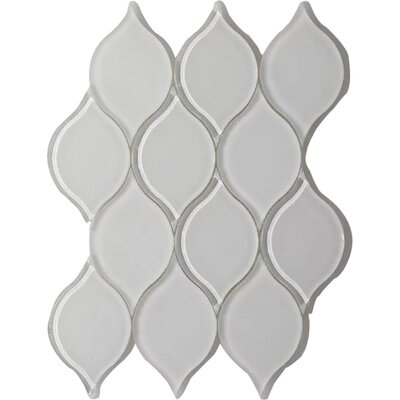 Tear Drop Frosted Wall 12 x 10.75 Glass Mosaic Tile