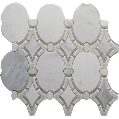 Arabescato Antique P. Wall 12 x 12 Glass Mosaic Tile in White Clear