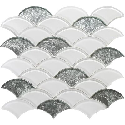 Scaglie Wall 12 x 12 Glass Mosaic Tile in White/Silver Clear