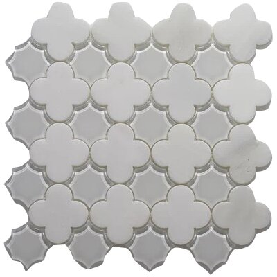 Wall Frosted and Polished 12 x 12 Arabescato and Glass Mosaic Tile in White