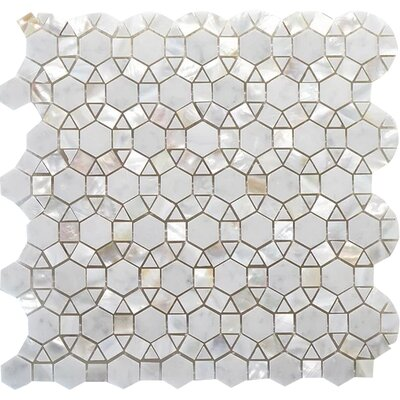 Bloom Wall Polished 12 x 12 C.Marfil and White Shell Mosaic Tile in White