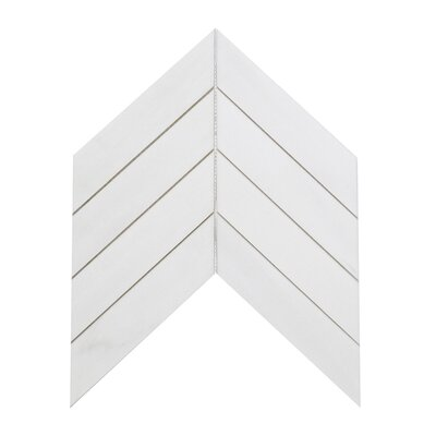 Soft Touch Chevron 2 x 8 Marble Mosaic Tile in White