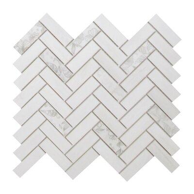 Soft Touch Herringbone 1 x 3 Marble Mosaic Tile in White