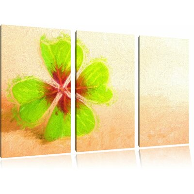 Lucky Clover with Four Leaves 3-Piece Painting Print on Canvas Set