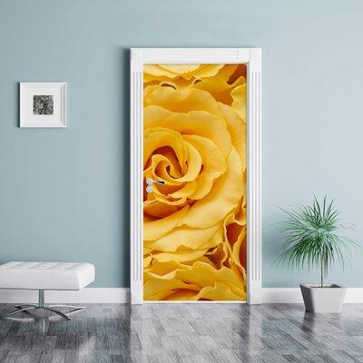 Image of Flowers Yellow Roses Sea of Flowers Door Sticker