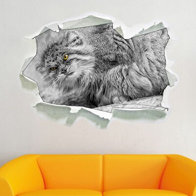 Small Sweet Pallas Cat on Rock Wall Sticker.