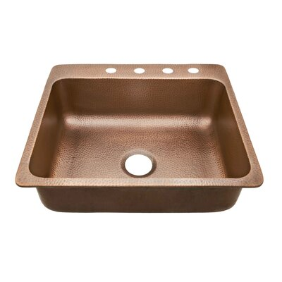 Rosa Single Bowl 25 x 22 Drop-In Kitchen Sink Faucet Drillings: 4 Hole