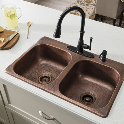 Raphael 33 x 22 Double Bowl Drop-In Kitchen Sink