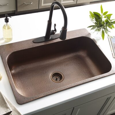 Angelico Handmade 3-Hole Single Bowl 22 x 8 Drop-In Kitchen Sink