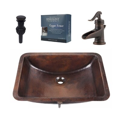 Curie Metal Rectangular Undermount Bathroom Sink with Faucet