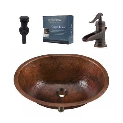 Freud Metal Circular Undermount Bathroom Sink with Faucet and Overflow