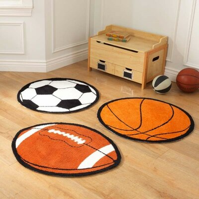 Sports 3 Piece Orange Area Rug Set