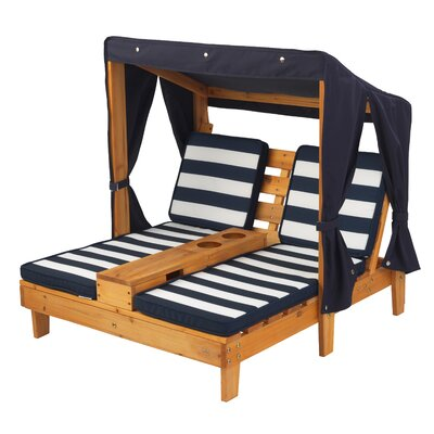 Double Kids' Chaise Lounge with Cup Holders Cushion: Honey/Navy 00524